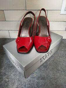 New FRANCO SARTO Women's Ruby Red Patent Peep Toe Slingback Wedge  8 M / 8M