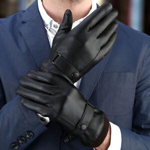 Men's Warm Gloves Black Winter Mittens Keep Touch Screen Windproof Driving