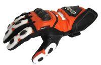 Motorradhandschuhe von XLS Lederhandschuhe Orange Weiß Gr. S bis 3XL