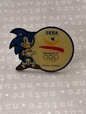 1992 SEGA SPONSOR BARCELONA OLYMPICS SONIC THE HEDGEHOG LOGO PIN BADGE 92 RETRO