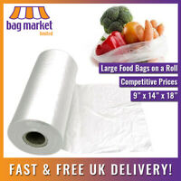 "250 x Clear HD Polythene Bags On A Roll!   9"" x 14"" x 18""   Fruit/Veg/Food/Meat"