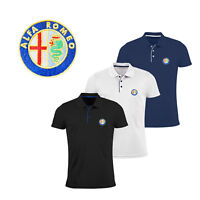 Alfa Romeo Slim Fit Polo T Shirt EMBROIDERED Auto Car Logo Tee Mens Clothing