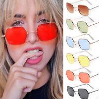 Color Retro Hexagon Square Sunglasses Metal Frame Glasses Men Women Eyewear 2019
