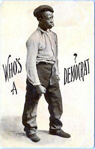 Black Americana WHO'S A DEMOCRAT? Man Fist Political Politics 1907 Postcard NC