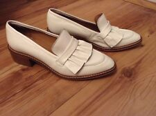 New❤️NEXT Signature❤️Size 8 Womens White Ruffle Real Leather Loafers Shoes 42EU