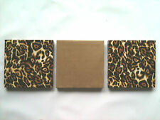 3 MODERN NERO / Marrone Leopard Animal Print wallhangings