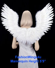 FashionWings White Open Swing V Shape Costume Feather Angel Wings Adult Unisex