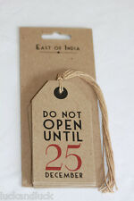 East of India Do Not Open Until 25 December Christmas Vintage Gift Tags x 6