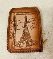 Vintage Leather Paris Souvenir Book Shaped Purse T6