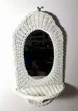 "Vintage White Wicker Oval Mirror 22"" X12"" Shabby Cottage Beach With shelf"