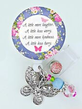 Beautiful Quote ID REEL BLING BADGE HOLDER butterfly Charm Nurse, RN LVN CNA