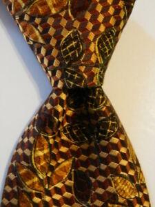 ERMENEGILDO ZEGNA Men's Silk Necktie ITALY Luxury FLORAL Brown/Yellow/Orange EUC