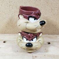VTG Warner Brothers 1992 Looney Tunes Taz Tazmanian Devil 3-D Mug Cup - Lot of 2
