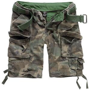 Brandit Savage Vintage Army Mens Combat Cargo Shorts Summer Travel Woodland Camo