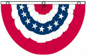 (2 Pack) 3'x5' USA Bunting Flag Red White Blue Banner American Patriotic 5x3