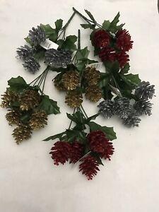 6x Pine Cone Bunches Joblot Artificial Christmas Picks Plastic Glitter Wreath