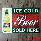 Metal Tin Sign ice cold beer Decor Bar Pub Home Vintage Retro Poster Cafe ART