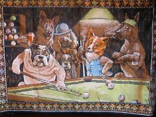 Velvet style wall hanging Tapestry(Dog playing pool)