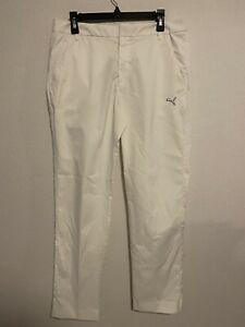 Puma Mens Golf Pants Size 34x32 White Lightweight Sport Lifestyle Logo Pre-owned