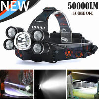 50000LM 5Head XML T6 LED 18650 Emergent Headlamp Headlight Flashlight Torch Lamp