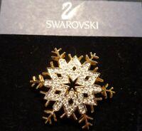 "NEW SWAROVSKI SWAN LOGO ◇ SNOW FLAKE PIN 1.5"" ◇ GOLD TONE PIN WITH CRYSTALS"