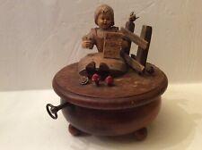 Vintage Thorens Music Box Rotating Carved Wood Switzerland Box, Works Fine.