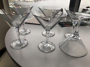 Williams Sonoma Set Id 6 Clear Acrylic Martini Glasses