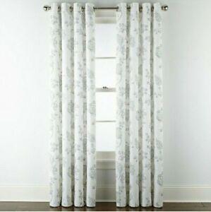 (1) JCPenney JCP Quinn Jacobean Lavender Multi Grommet Curtain Panel 50 x 84