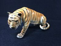 "VINTAGE GLAZED CERAMIC BENGAL TIGER ANIMAL FIGURE 10 1/2"" MARKED 1950'S-60'S"