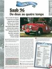 Saab 96 3 Cyl. Berline 1961 Sweden Suede Car Auto Retro FICHE FRANCE