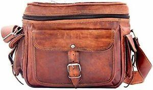 vintage handmade messenger Real Goat leather satchel bag for camera, DSLR, SLR