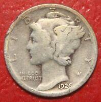 1926-D Mercury Dime , Circulated  , 90% Silver US Coin