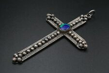 "Vintage Sterling Silver Beaded Large Azurite Cross Pendant 3.5"" 23g PS617"