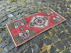 %100 WOOL HANDMADE TURKISH SMALL RUG, VINTAGE FROM 1960s, CARPET | 1,5 x 3,2 ft