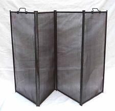 Vintage Folding 4 Panel Fire Place Screen Firescreen Iron Handles
