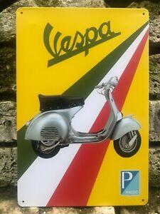 VESPA SCOOTER PIAGGIO CLASSIC ITALIAN FLAG VINTAGE RETRO METAL SIGN 30X20cm