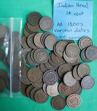 100 Indian Head Cents Lot of 1800s Nice Pennies Copper One Cent Coin 1857 - 1899