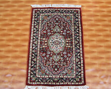 2x3 Red Color Door Mat Home Décor Chobi Silk Oriental Carpet Hand Knotted Rugs