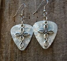 Cross Charm Guitar Pick Earrings with Surgical Steel Earwires