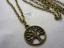 "Pendant, Long ( 30"" ) Chain Necklace A Bronze StyleRound The Tree of Life Charm"