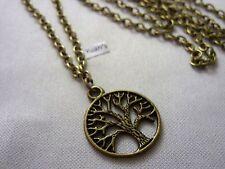 Bronce StyleRound El Charm árbol de la vida Colgante,Largo 76.2cm Collar Cadena