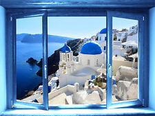 walL stickers-trompe l'oeil-Santorini- finestra- adesivo per muro-Grecia