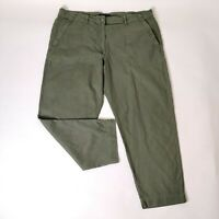 Marks And Spencer Khaki Green Cropped Trousers Plus Size 20 Pockets Casual