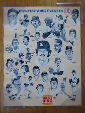 1978 Burger King NEW YORK YANKEES Champions Poster REGGIE JACKSON THURMAN MUNSON