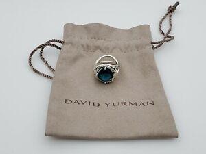 David Yurman sterling silver 925 11mm Infinity Ring & Hampton Blue Topaz size 8