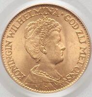 1911 Netherlands Wilhelmina I gold 10 Gulden MS66 PCGS KM149 CARTWHEEL BRILLIANT