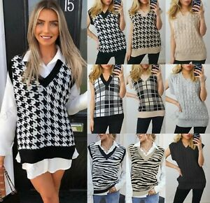 Women Cable Knitted Sleeveless Vest Ladies Dogtooth Knit Jumper Sweater Tank Top