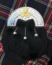 Men's Full Dress Kilt Sporran Black Rabbit Fur Celtic Cantle/Irish shamrook Gold
