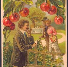 ROMANTIC MAN WATCHES LADY WITH FATHER,LUSH CHERRY FRUIT TREE,VINTAGE POSTCARD