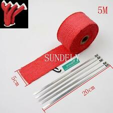 Red Car Exhaust Header Heat Pipe Wrap Tape Turbo 5m x 50mm + 5 Stainless Ties